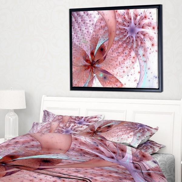 Designart 'Red and Blue Symmetrical Fractal Flower' Floral Framed Canvas Art Print