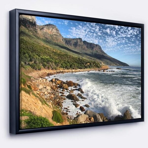 Designart 'Beautiful South African Seashore' Large Seashore Framed Canvas Print