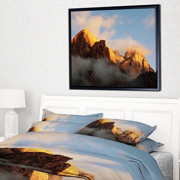 Designart 'Foggy Hills in Zion National Park' Oversized Landscape Framed Canvas Art