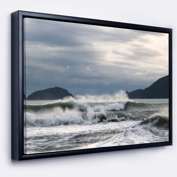 Designart 'Waves in Lerici Beach Italy' Seascape Framed Canvas Art Print