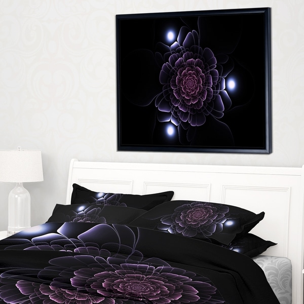 Designart 'Purple Fractal Flower on Dark' Floral Framed Canvas Art Print