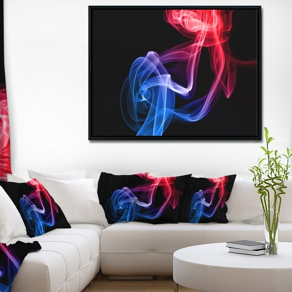 Designart 'Blue Red Floating Smoke on Black' Large Abstract Framed Canvas Wall Art