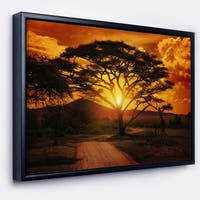 Designart 'African Sunset with Lonely Tree' African Landscape Framed Canvas Art Print