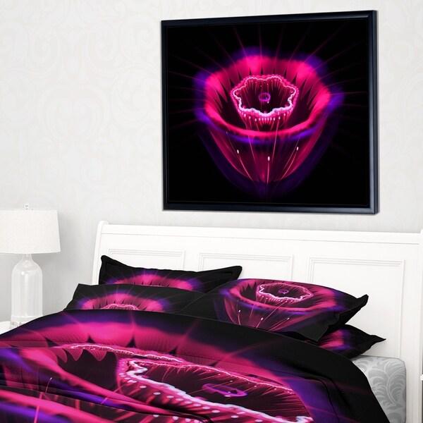 Designart 'Abstract Magenta Fractal Flower' Floral Framed Canvas Art print