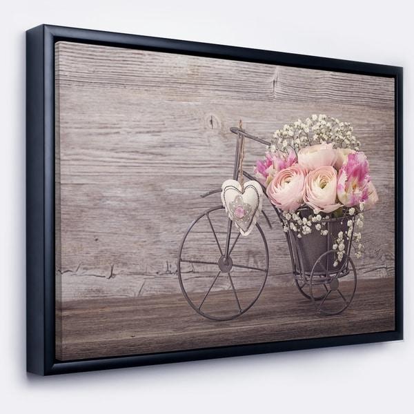 Designart 'Ranunculus Flowers in Bicycle Vase' Floral Framed Canvas Art Print