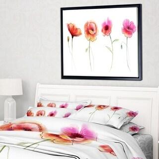 Designart 'Watercolor Poppy Flowers Sketch' Flower Artwork on Framed Canvas