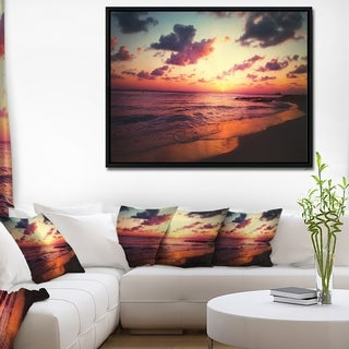 Designart 'Sea Sunset Landscape View' Large Seashore Framed Canvas Wall Art