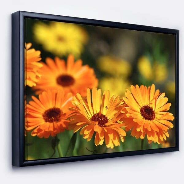 Designart 'Blooming Orange Marigold Flowers' Floral Framed Canvas Art Print