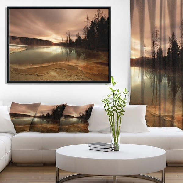 Designart 'Mountain Lake under Cloudy Sky' African Landscape Framed Canvas Art Print