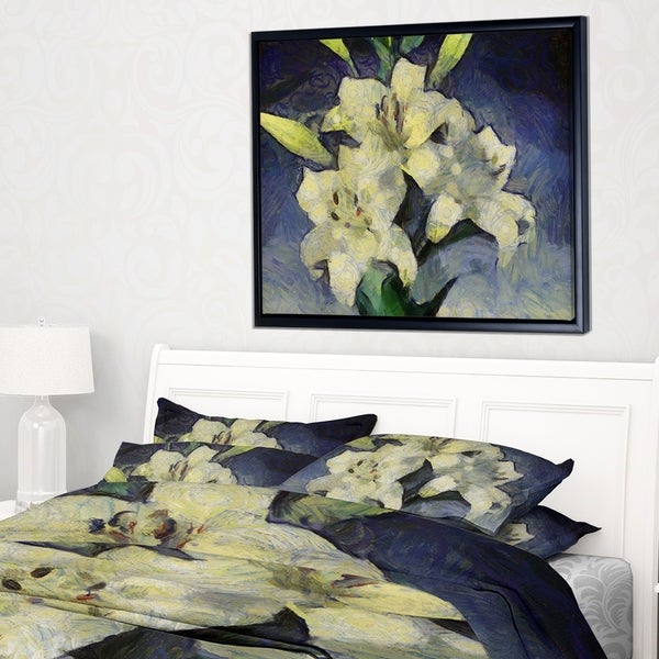 27bbbd3f9b5 Designart   x27 White Lilies on Blue Watercolor  x27  Floral Framed Canvas