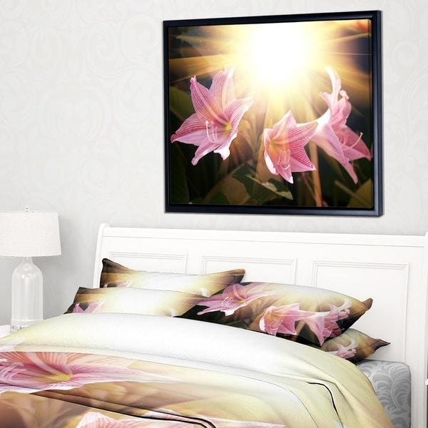 Designart 'Large Pink Flowers with Sunlight' Large Flower Framed Canvas Art Print