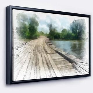 Designart 'Bridge over Waterfall in Forest' Large Landscape Framed Canvas Art