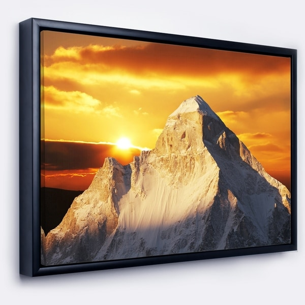Designart 'Shivling Garhwal Himalaya At Sunset' Landscape Framed Canvas Art Print