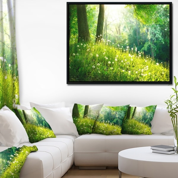 Designart 'Beautiful Green Grass and Trees' Large Landscape Framed Canvas Art Print