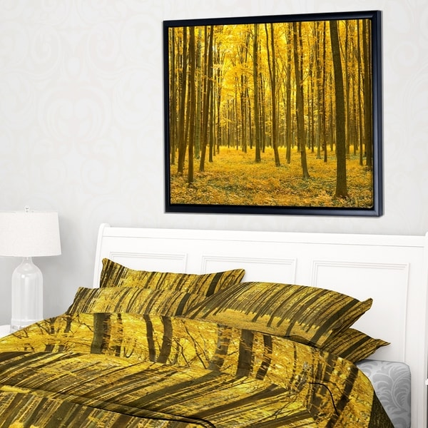 Designart 'Bright Yellow Autumns Forest' Modern Forest Framed Canvas Art