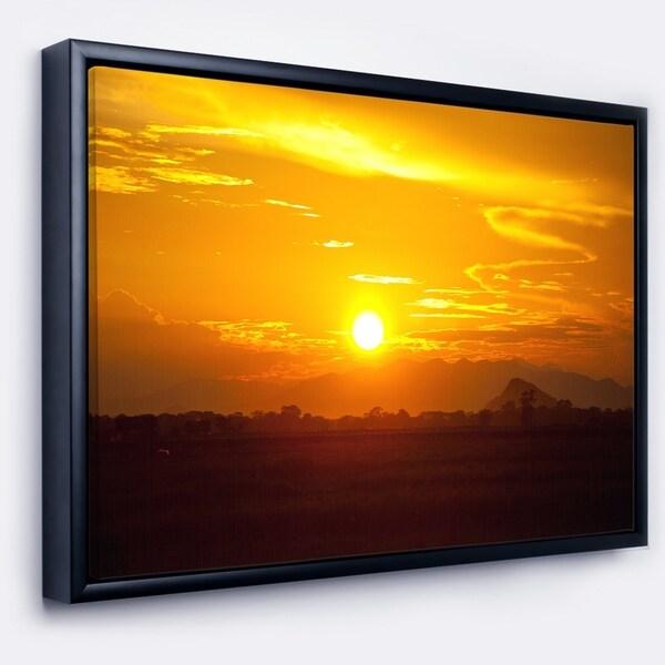 Designart 'Bright Yellow Sunset in Sri Lanka' Extra Large Landscape Framed Canvas Art