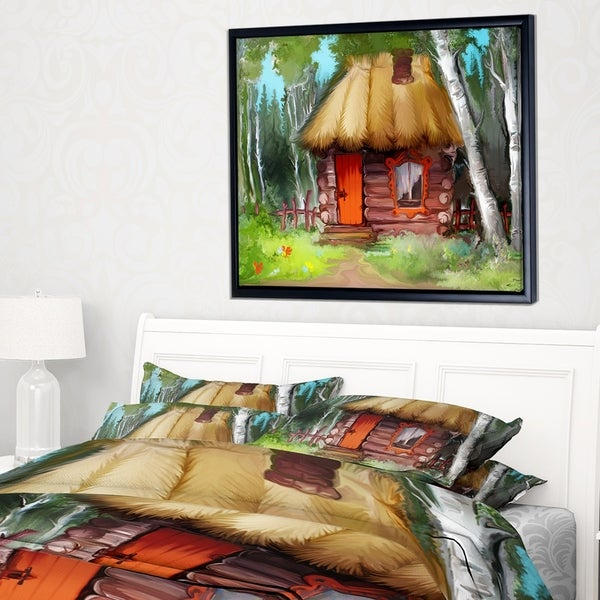 Designart 'Rural Landscape with House' Extra Large Landscape Framed Canvas Art Print