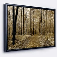 Designart 'Wooded Forest Panoramic View' Modern Forest Framed Canvas Art