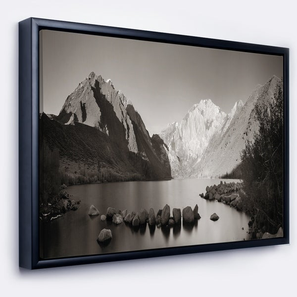 Designart 'Snow Mountain Lake Panorama' Large Landscape Framed Canvas Art