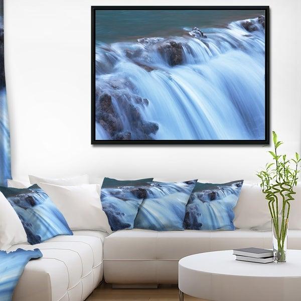 Designart 'Fantastic Blue Water Cascade' Extra Large Landscape Framed Canvas Art