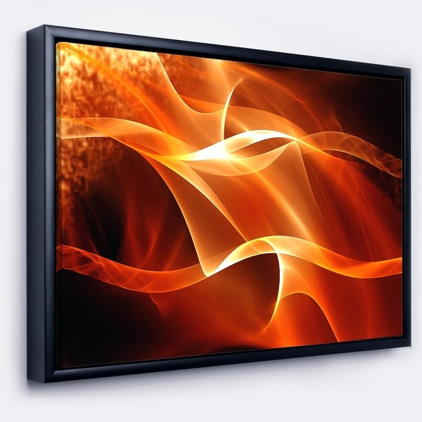 Designart 'Orange 3d Abstract Fractal Waves' Contemporary Abstract Framed Canvas
