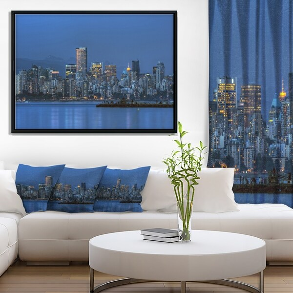 Designart 'Vancouver Downtown in Evening' Extra Large Framed Canvas Art Print