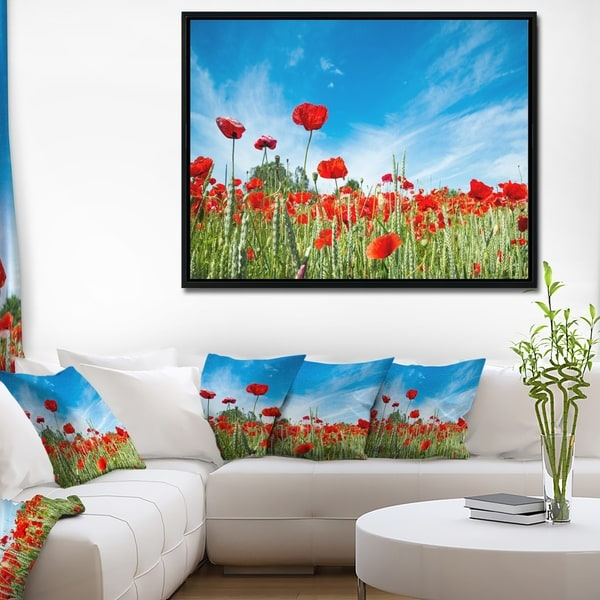 Designart 'Red Poppy Garden under Clear Sky' Floral Framed Canvas Art Print