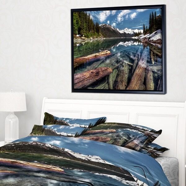 Designart 'Sunken Logs n Mountain Lake' Extra Large Landscape Framed Canvas Art Print