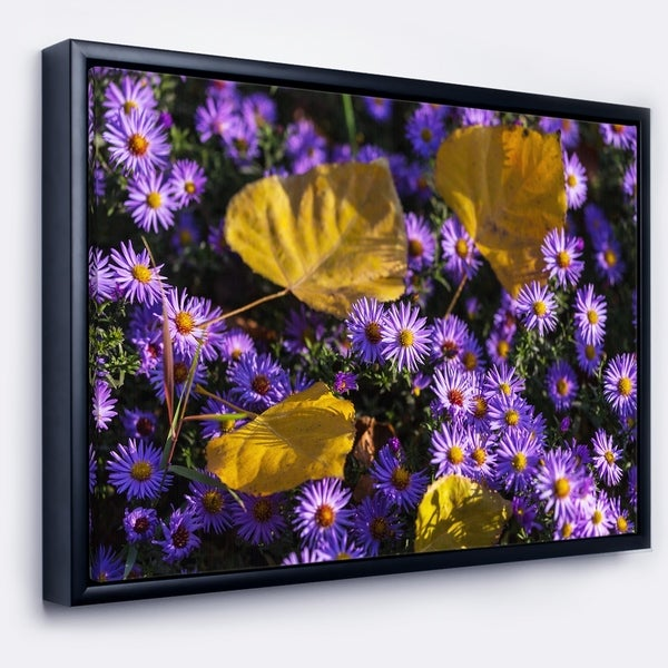 Designart 'Little Purple Flowers and Yellow Leaves' Floral Framed Canvas Art Print