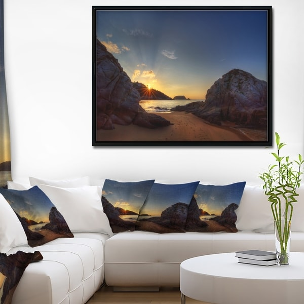 Designart 'Hills in Beautiful Mountain Beach' Extra Large Landscape Framed Canvas Art Print