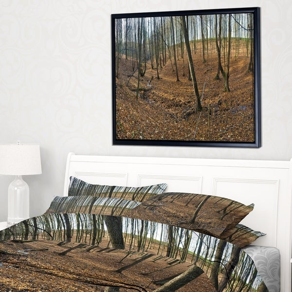 Designart 'Woods in Fall Forest Panorama' Forest Framed Canvas Art Print