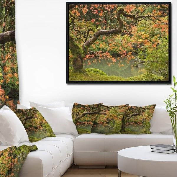 Designart 'Japanese Garden Fall Season' Large Landscape Framed Canvas Art