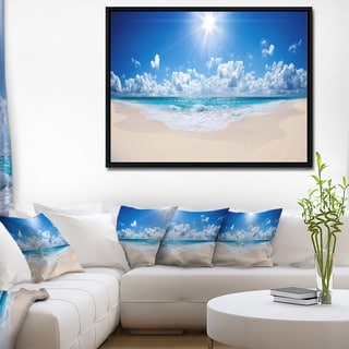 Designart 'Beautiful Tropical Beach Panorama' Modern Seashore Framed Canvas Art
