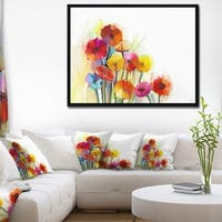 Designart 'Colorful Gerbera Flowers Watercolor' Large Floral Framed Canvas Artwork