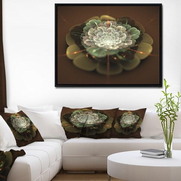 Designart 'White Fractal Flower on Brown' Flower Artwork on Framed Canvas
