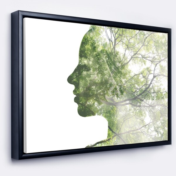 Designart 'Lady Combined With Green Tree' Portrait Framed Canvas Art Print