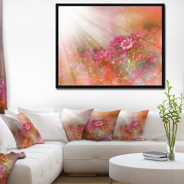 Designart 'Little Red and Pink Flowers Spring' Large Floral Framed Canvas Artwork