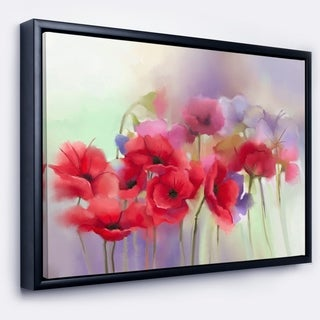 Designart 'Watercolor Red Poppy Flowers Painting' Large Floral Framed Canvas Artwork