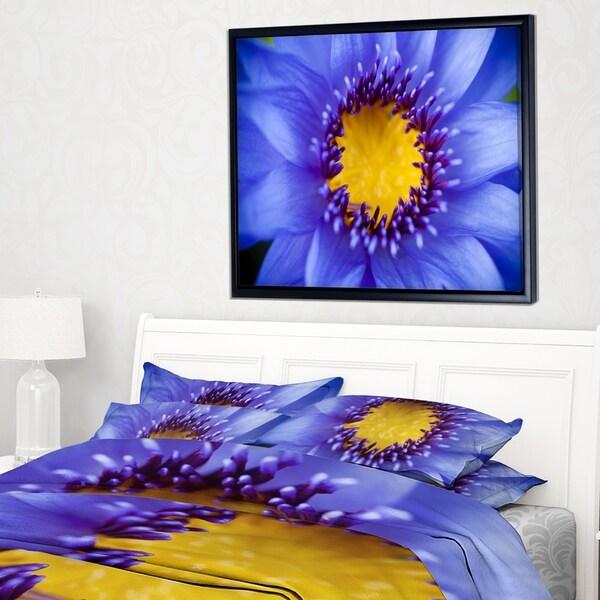 Designart 'Blue Lotus Close up Watercolor' Flowers Framed Canvas Wall Artwork