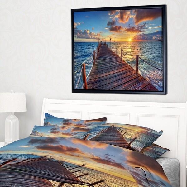 Designart 'Beautiful Sunset over Sea Pier' Modern Framed Canvas Art Print
