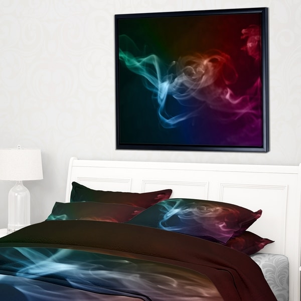 Designart 'Abstract Fractal Smoke Waves' Large Abstract Framed Canvas Wall Art
