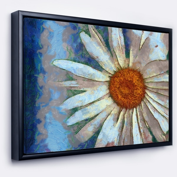Designart 'Hand drawn White Chamomile Flower' Flower Artwork on Framed Canvas
