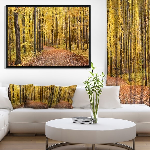Designart 'Bright Autumn Forest Panorama' Modern Forest Framed Canvas Art
