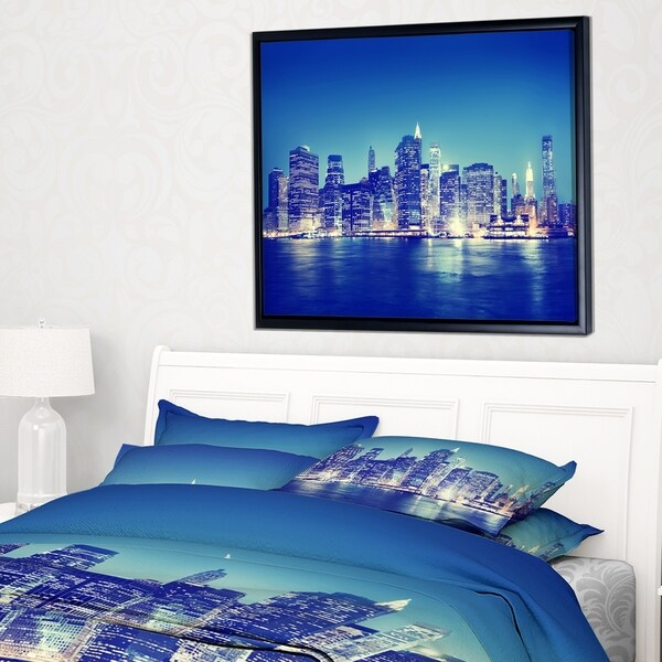 Designart 'New York City Night Panorama' Extra Large Framed Canvas Art Print