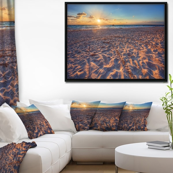Designart 'Trodden Sandy Beach at Sunset' Seashore Framed Canvas Art Print