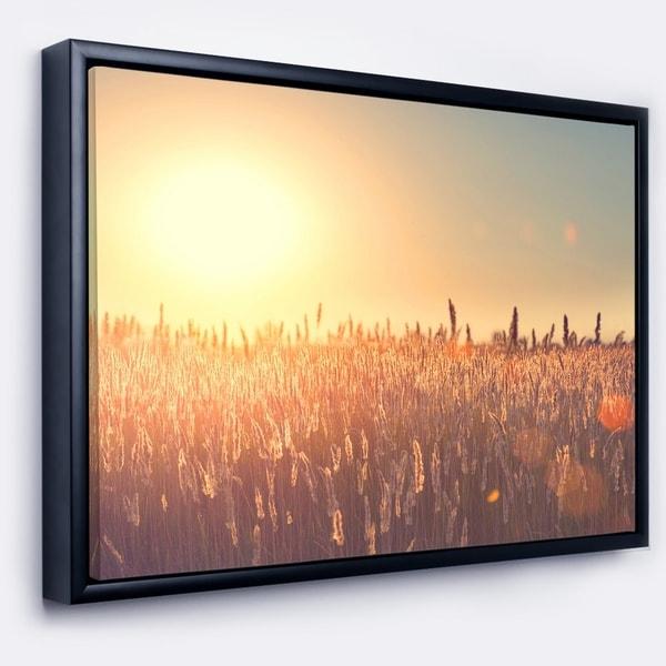 Designart 'Rural Land under Shining Sun' Large Landscape Framed Canvas Art