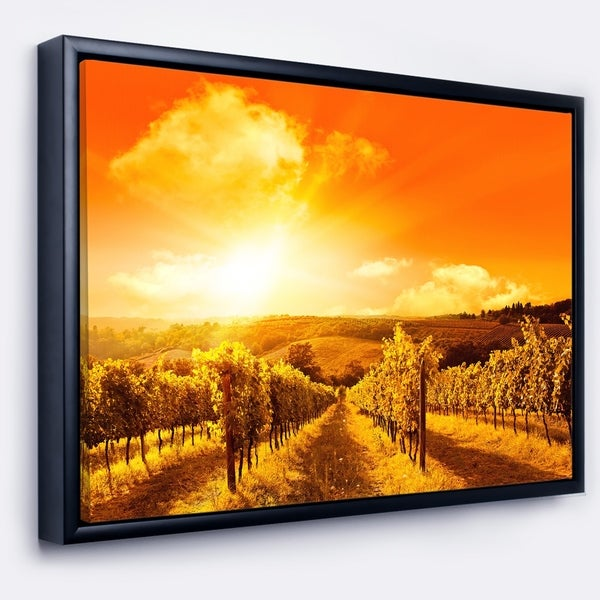 Designart 'Scenic Sunset Road in Italy' Large Landscape Framed Canvas Art