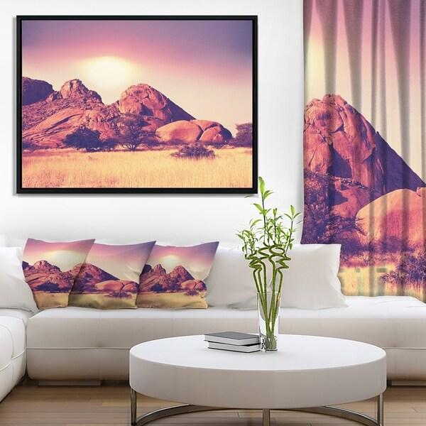 Designart 'Rocky Hills and Grassland in Africa' Oversized Landscape Framed Canvas Art