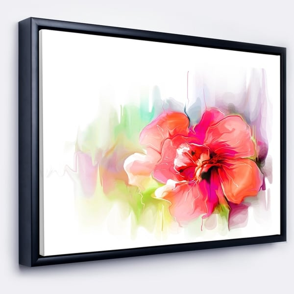 Designart 'Beautiful Red Floral Watercolor' Floral Framed Canvas Art Print
