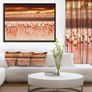 Designart 'African Flamingos View At Sunset' Floral Framed Canvas Art Print